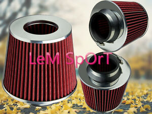 3inch Universal Chrome Short Ram Cold Intake Round Cone Air Filter Red Kn Type