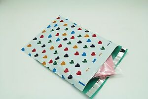200 Bags 100 10x13 Colorful Hearts 100 10x13 Dots Designer Poly Mailers Bag