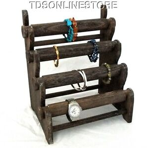 Rustic Coffee Four Tier Bracelet And Watch Storage display