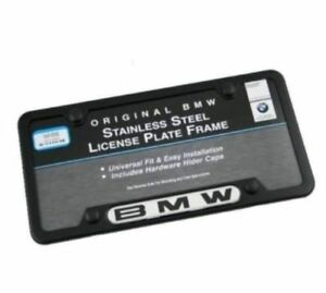 Genuine Bmw Black Stainless Steel License Plate Frame W Hardware 82120010398
