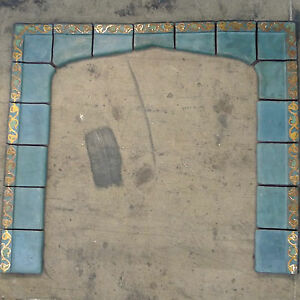 S S Vintage 17 Pc Fireplace Surround California Arts Crafts Blue