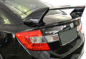For Honda Civic Sedan Mug Style Matt Black Rear Tail Trunk Spoiler Wing Body Kit