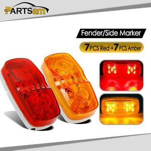7red 7amber Double Bullseye Led 2x4 Trailer Marker Light 10 Diodses Sealed 12v