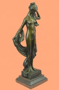Antique Vintage Style Art Nouveau Spelter Bronze Woman Scuplture Statue Figure