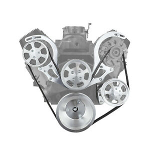 Chevy Bbc 454 Polished Aluminum Short Water Pump Serpentine Engine Pulley Set