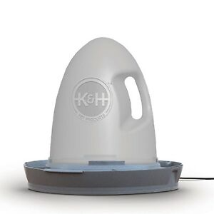 K h Heated Poultry Chicken Waterer Water Bowl Dish 2 5 Gallon Gray