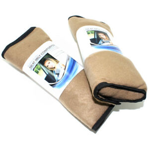 2 Super Plush Tan Fleece Seat Belt Cover Shoulder Comfort Pads For Car truck