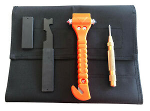 Firefighter Kit Shove Knife Window Breaker Rescue Punch Bottle Opener Tool Roll