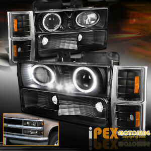 94 98 Chevy Silverado 8pcs Dual Halo Led Projector Headlight W Signal Lights