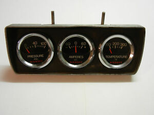 Vintage Niehoff Gauges Set Oil Amperes Temperature