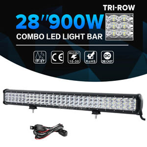 28 Inch 900w Cree Led Light Bar Tri Row Combo Offroad For Jeep Driving Truck 4wd