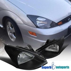 For 2000 2004 Ford Focus Assembly Headlights Lamps Black Clear Pair Left Right