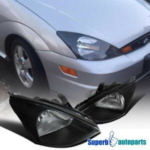 For 2000 2004 Ford Focus Assembly Headlights Lamps Black Pair Left right