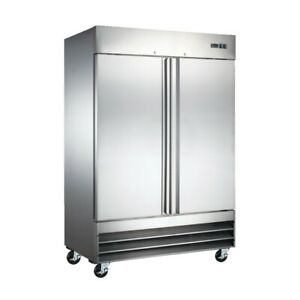 54 Commercial Upright Reach In 2 Door Stainless Steel Restaurant Freezer