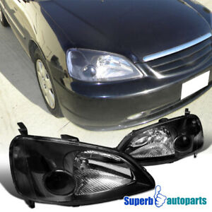 For 2001 2003 Honda Civic 2 4d Crystal Headlights Head Lamps Black