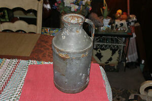 Antique Metal Milk Dairy Can Container W Handle Country Decor Barn Primitive