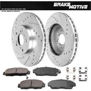 Front Kit Drilled And Slotted Brake Rotors Ceramic Pads For Cl Tl Tsx Accord
