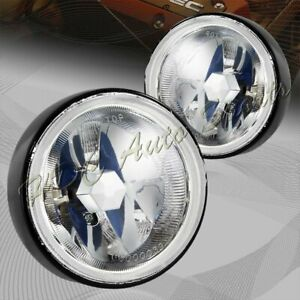 Universal 3 5 Round Clear Lens Chrome Reflector 12v Fog Driving Lights Lamp Kit