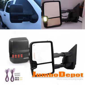 Pair Power Heated Towing Mirrors W Smoke Led Signal Fit Silverado Sierra 07 14
