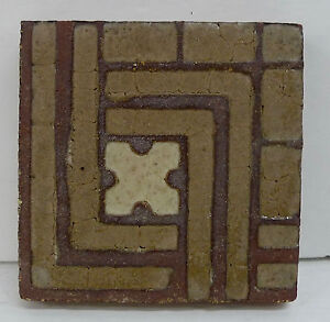 Grueby Antique Tile With Pattern Brown