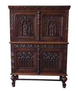 French Antique Gothic Vestry Cabinet Server Sideboard