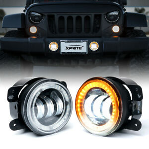 Halo Amber Angel Eye Led 4 Inch Fog Light Lamp For 2007 2018 Jeep Wrangler Jk