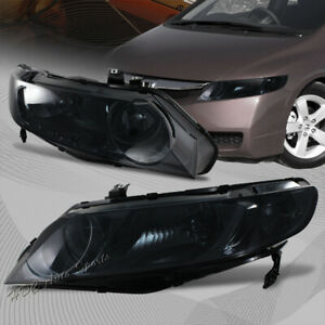 For 2006 2011 Honda Civic Smoke Housing Headlights Smoke Lens W clear Reflector