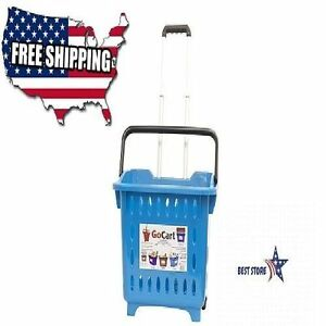 Gocart Teal Grocery Shopping Basket Rolling Laundry Cart Elescopic Handle New