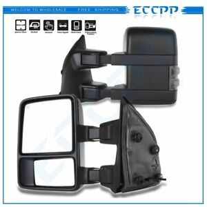 Left Right For 1999 07 Ford F250 F350 F450 Power Heated Smoke Signal Tow Mirrors