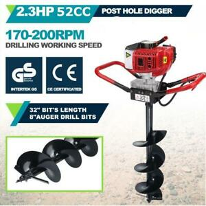 2 3hp Gas Powered Post Hole Digger W 8 Earth Auger Drill Bit 52cc Power Engine