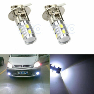 2x H3 White 10led 5630 Smd Car Auto Bulb Tail Turn Fog Driving Light High Beam