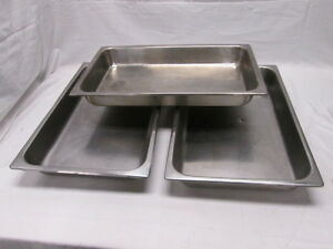 3 Full Size Hotel Pans Chafer Dishes 20 7 8 x12 7 8 x2 1 2 Commercial Kitchen