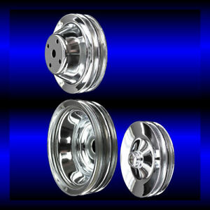 Chrome Small Block Chevy Pulley Set 3 Pulleys Long Pump Sbc 283 327 350 383 400
