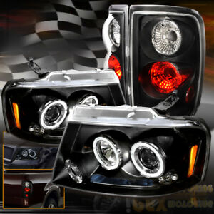 For 2004 2008 Ford F150 Led Halo Projector Headlights W Black Euro Tail Lights