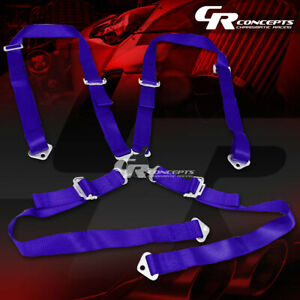 4 Point 2 Wide Blue Strap Harness Safety Camlock Style Racing Seat Belt Bolts