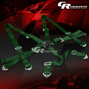 6 Point 3 Wide Green Strap Harness Safety Camlock Style Racing Seat Belt Bolts