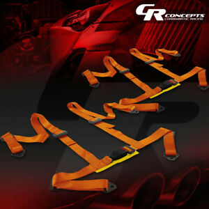 2 X 4 point 2 Nylon Strap Drift Racing Safety Buckle Harness Seat Belts Gold