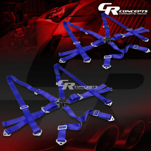 2x 6 point 2 Wide Blue Strap Harness Safety Camlock Style Racing Seat Belt bolt