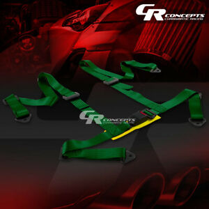 4 point 2 Wide Green Strap Harness Safety Buckle Style Racing Seat Belt bolts