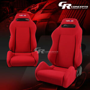 Pair Nrg Type R Red Stitches Fully Reclinable Racing Seats Adjustable Slider