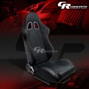 1 X Black Suede Reclinable Sports Racing Seats Mounting Sliders Passenger Side