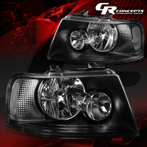 Pair Black Housing Clear Corner Headlights Lh Rh For 03 06 Ford Expedition U222