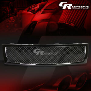 Black Square Mesh Front Upper Bumper Grille Grill For 07 13 Chevy Silverado 1500