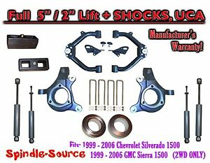 99 07 Chevy Silverado Gmc Sierra 1500 Spindle 5 Lift Kit 5 2 Shocks Uca