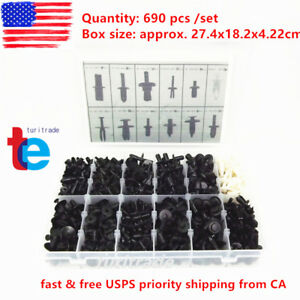 690pcs Car Automotive Push Pin Rivet Trim Clip Panel Body Interior Assortment Us