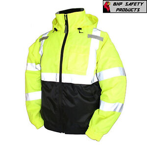 Hi vis Insulated Safety Bomber Reflective Jacket Road Work High Visibility