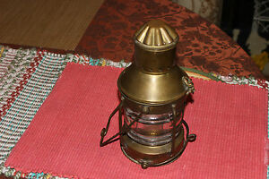 Vintage Nautical Oil Kerosene Lamp W Glass Body Brass Metal Hanging Ship Lamp