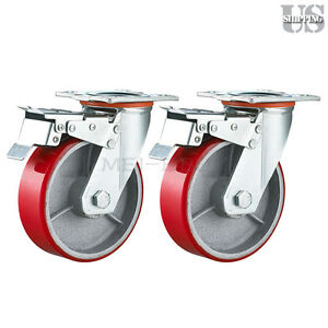 Set Of 2 Red Wheels Caster 5 Heavy Duty Wheel Iron Hub Swivel Total Lock Brake