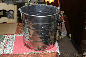 Large White Co Stainless Steel Dairy Milk Can Pail Carrier W handle farm Decor
