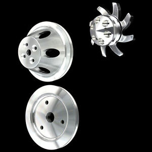 Billet Aluminum 1 Groove 3 Pulley Set For Sb Chevy Short Water Pump 283 327 350